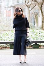 black Zara pants - grey Sheinside coat - turtleneck Aritzia sweater