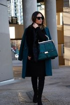 green balmain & HM bag - Zara boots - black Zara dress - coat hm coat