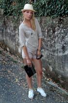 beige Sisley shirt - beige Calliope shorts - black H&M sunglasses