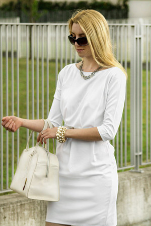 white OASAP dress - white Liviana Conti bag - silver Chanel earrings