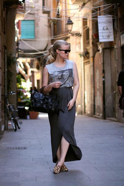 charcoal gray GINA TRICOT skirt - black PROENZA SCHOULER bag
