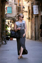 charcoal gray GINA TRICOT skirt - black PROENZA SCHOULER bag