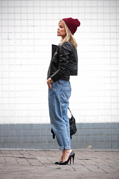 Monki jeans - beanie H&M hat - Vila jacket - Christian Louboutin heels