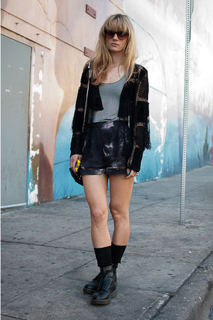 black doc martens boots - black Topshop sweater - Alexander Wang shirt - Urban O