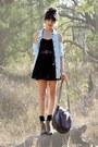 Light-brown-rubi-boots-black-bardot-dress-light-blue-bardot-shirt-charcoal