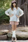 Light-blue-bardot-sweater-beige-bardot-shirt-pink-bardot-shorts-pink-httpp