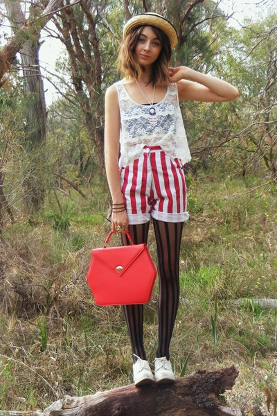 red thrifted wallet - white Mollini boots - black Forever New tights