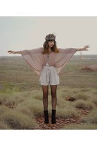 off white shorts - light pink DIY accessories - light pink Topshop blouse - blac