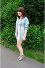 Blue-h-m-shirt-beige-topshop-skirt-white-topshop-top-silver-asos-shoes