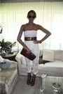 White-ysl-pants-brown-vintage-belt-brown-vintage-purse-brown-michael-kors-