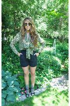 green vintage blouse - black Forever 21 shoes - black vintage shorts