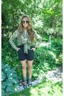 Black-vintage-shorts-black-forever-21-shoes-green-vintage-blouse-brown-vin
