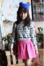 blue beanie unbranded hat - white unbranded sweater - hot pink Zara skirt