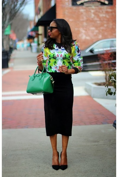 Givenchy bag - Celine sunglasses - danier skirt