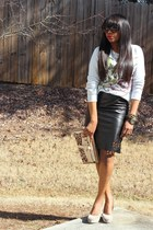 danier leather skirt - Reed Krakoff bag - brian atwood pumps