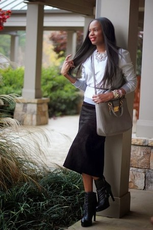 Miu Miu bag - danier skirt - Marc by Marc Jacobs sweatshirt - Club Monaco belt
