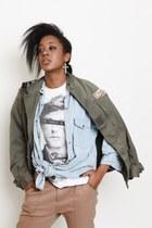 isnotdead t-shirt -  jacket - Mango shirt - Zara pants - Pimkie earrings