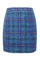 Navy Checked Woolen Skirt
