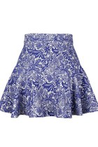 FINE LACE-LIKE EMBROIDERY SKATER SKIRT (NAVY)