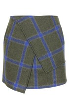 ASYMMETRICAL CHECKED WOOLEN SKIRT (TEAL GREEN)
