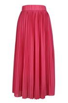 Before Petal Blooms Pleated Midi Skirt (Hot Pink)