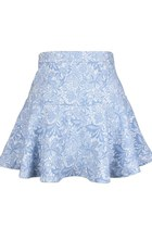 FINE LACE-LIKE EMBROIDERY SKATER SKIRT (BABY BLUE)