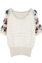 VINTAGE KNIT ROSE ON SLEEVES JUMPER