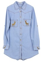 Deer Embroidery Denim Shirt