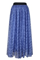 Lace Fountain Midi Skirt ( Blue)