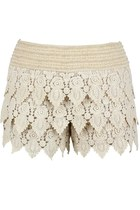 Roses on Leaves Crochet Shorts (Nude)