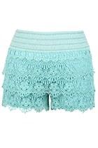 Floral Sea Crochet Shorts (Mint)