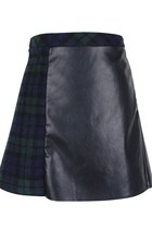 Checked it Out PU Leather Skirt