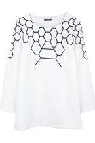HONEYCOMB ON TOP SHIRT (BLACK/ WHITE)