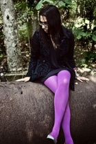 freepeople jacket - Urban Outfitters stockings - Papya dress - alloy shoes