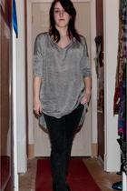 gray H&M t-shirt - black BDG jeans - black Jeffery Campbell shoes