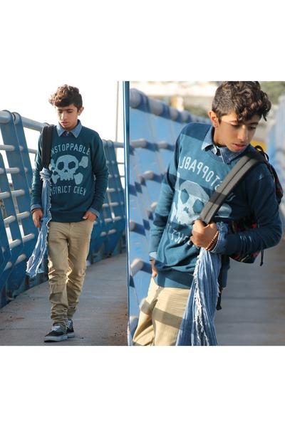 mustard Zara jeans - navy Zara sweater - navy Zara shirt - silver Vans sneakers