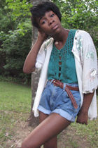 green Charlotte Russe top - blue calvin klein shorts - vintage cardigan