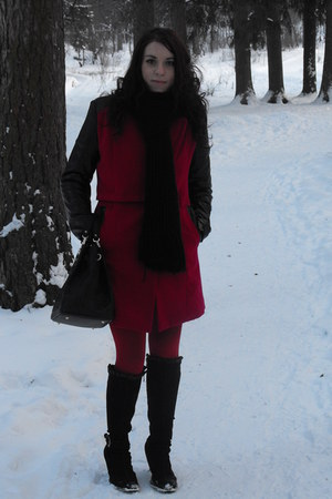 romwe coat - Zara boots - Sheinside dress
