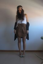 blue Bimba&Lola shoes - orange Adolfo Dominguez skirt - gray H&M cardigan