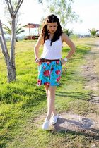 brown H&M belt - blue Bea Villasuso Me skirt - white vintage shoes - white H&M b