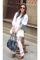 pink pull&bear jeans - brown Zara shoes - white Zara blouse - blue denim vest