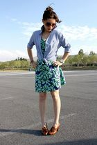 green H&M dress - blue Ralph Lauren shirt