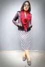 Black-biker-unknown-jacket-ruby-red-keffiyeh-unbranded-scarf