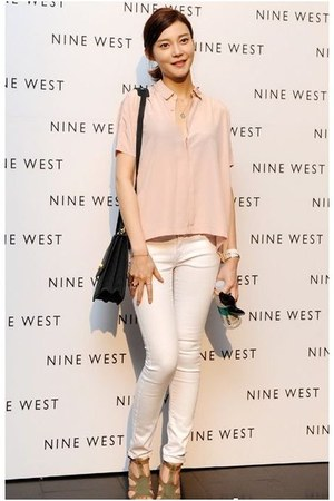 heather gray Tabio heels - light pink Topshop shirt - navy sdgf bag