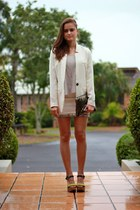 White Twill Coat coat - White Sequin Skirt skirt