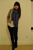 blue DIY scarf - beige cardigan - white BDG top - black Forever 21 boots