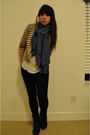 Blue-diy-scarf-beige-cardigan-white-bdg-top-black-forever-21-boots