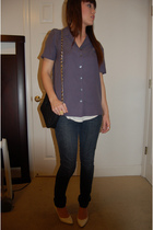purple shirt - gold Forever21 accessories - white shoes - black Ganson accessori