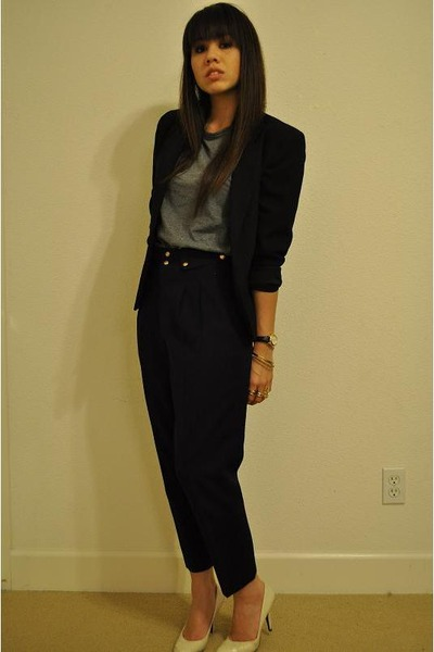 black blazer - blue pants - gray Hanes t-shirt