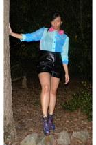 aquamarine blouse - boots